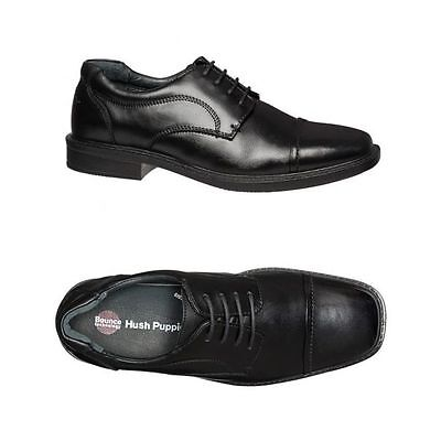 Mens Hush Puppies Huon  Black Leather Extra Wide Lace Up Work Formal Men's Shoes
