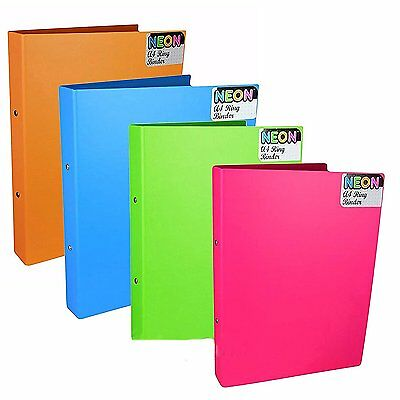 12 x A4 Neon Ring Binders Folders 2 Ring Home Office Paper Files Storage
