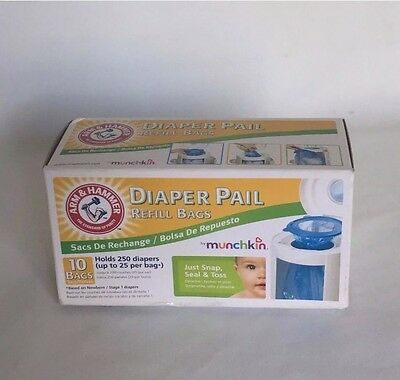 Arm Hammer Diaper Pail Refill Bags 10 Pack Holds 250 Diapers FREE SHIP Munchkin