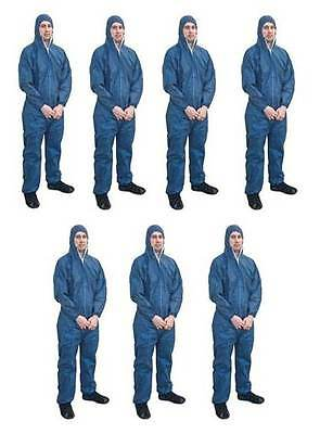 Asbestos Removal Rated Blue Disposable Overalls | Type 5/6 | 7 Pair Bundle