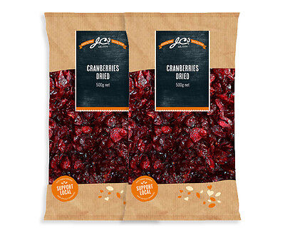 2 x J.C's Quality Foods Dried Cranberries 500g
