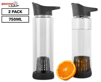 Gourmet Kitchen 750mL Fruit Infuser Water Bottle 2-Pack - Clear/Grey