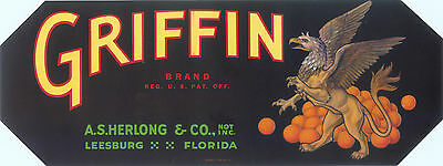 Crate Label Vintage Florida C1930 Strip Leesburg Griffin Original Mythical Beast