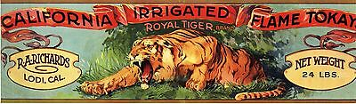 Crate Label Vintage Grape California Lodi 1920S Royal Tiger Jungle Cat Genuine