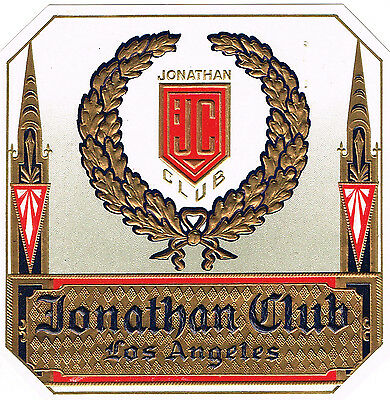 Cigar Box Label Vintage Outer Jonathan Club Los Angeles C1930 Embossed Genuine