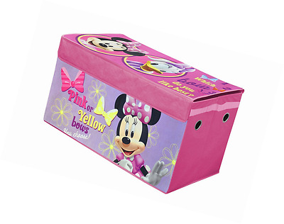 Toy Chest Disney Box Minnie Mouse Storage Kids Toddler Trunk Collapsible  Pink