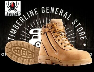 Redback Cobar Lace Up / Zipup Side Soft Toe Work Boots Wheat Nubuck All Sizes UC