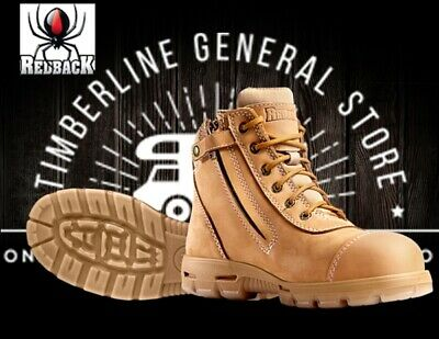 Redback Cobar Lace Up / Zipup Side Safely Toe Work Boots Wheat Nubuck USCWZS All