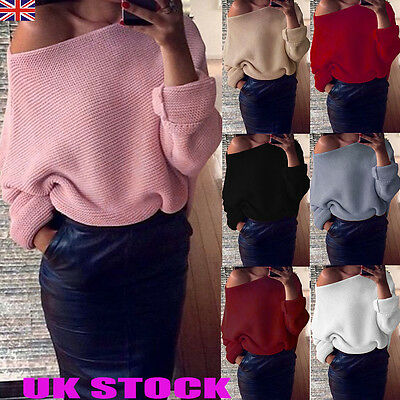 UK Womens Off Shoulder Knit Knitted Jumper Top Oversize Baggy Sweater Sweaters