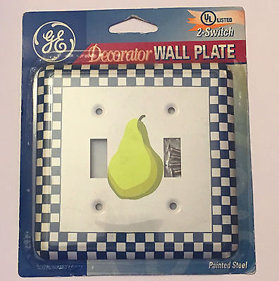 Double Light Switch Painted Steel PEAR Blue Checkered Wallplate Wall Plate Cover