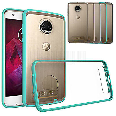 For Motorola Moto Z2 Force Edition Shockproof Clear Bumper Rubber TPU Hard Case