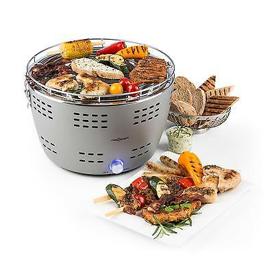 Holzkohle Mini Grill Rost Mobil Barbecue Picknick Camping 31Cm Grillfläche Grau