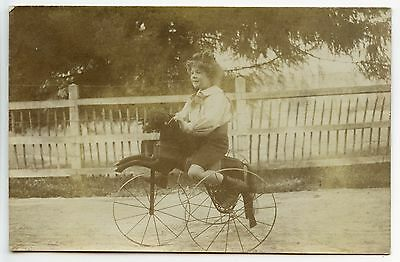 Carte Photo . Tricycle . Vieux Velo . Cheval De Bois .old Bike. Wooden Horse .