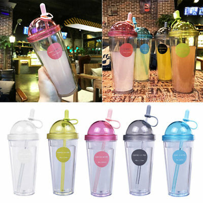 520ml Plastic Drinking Cup Double Walled With Straw Kids Picnic Party Bottle