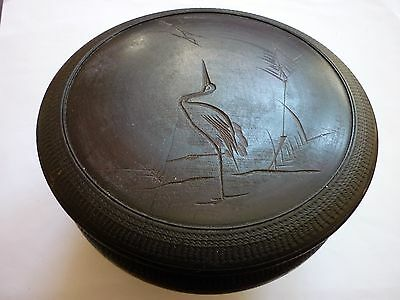 Vintage Japanese  Lidded Bowl Turned Wooden Bowl With Cranes & Rushes