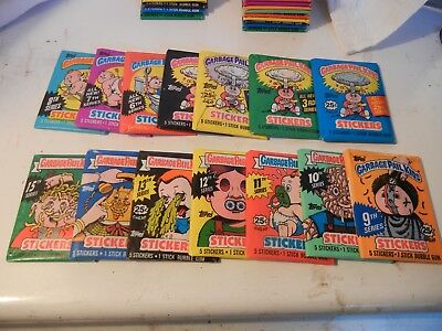 1985 -88 Garbage Pail  Topps  USA  GPK  14 unopen packs original series 2 to15