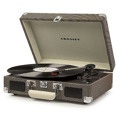 Crosley Cruiser Deluxe Portable 3 Speed Bluetooth Record Player Turntable, Tweed