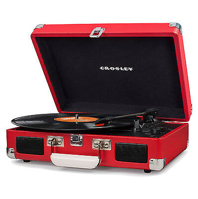 Crosley Cruiser Deluxe Portable 3 Speed Bluetooth Record Player Turntable, Red