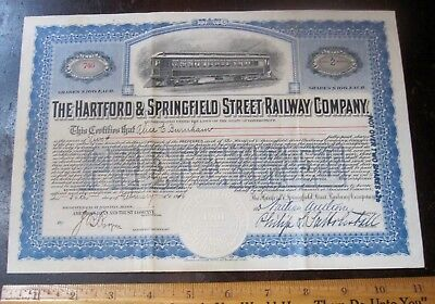 Hartford & Springfield Street Railway Antique Stock Certificate 2 shares 1916