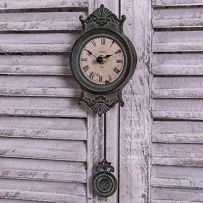 Grey Pendulum Wall Clock Shabby Vintage Antique French Chic Home Gift Timepiece
