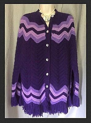 Vintage Boho Chic Hand Knit Chevron Purple Button Front Sweater Poncho Cape OS