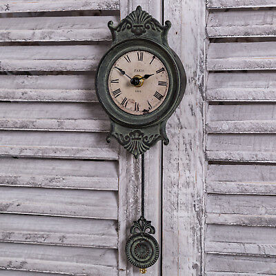 Grey Pendulum Clock Wall Shabby French Chic Style Antique Home Living Room Gift