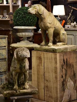 Pair of vintage French garden sculptures - large dogs