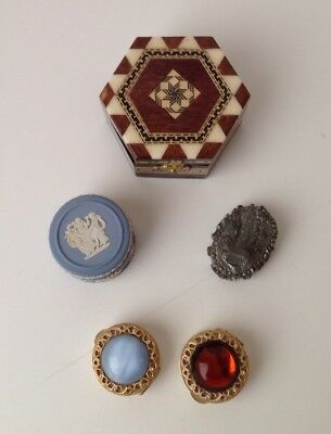 Lot Of 5 Vintage 1980s-1990s Trinket/Pill Boxes Greece, England, Spain-Assorted