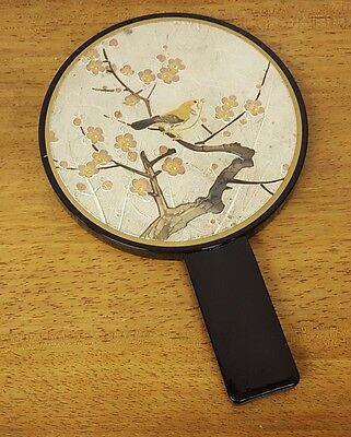 Vintage Etched Metal Bird on Tree Branch Asian Art Black Lacquer Hand Mirror