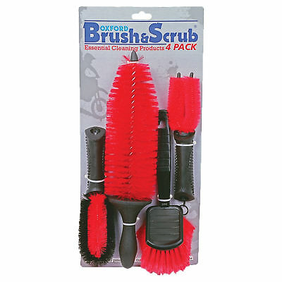 New Oxford Motorcycle Bike Brush & Scrub Cleaning Brushes Set 4 Pack Black & Red