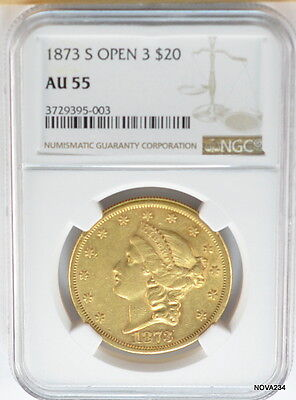 1873-S $20 Liberty Gold Double Eagle Ngc Au-55  *more Desirable Open 3*