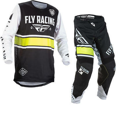New Fly Racing Adult Mens Kinetic Era Black White Green Jersey + Pants Combo