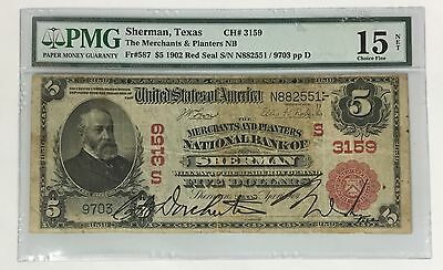 1902 $5 Sherman Texas ~ PMG CHOICE FINE C F 15 RED SEAL ~ CH# 3159 ~ FR# 587