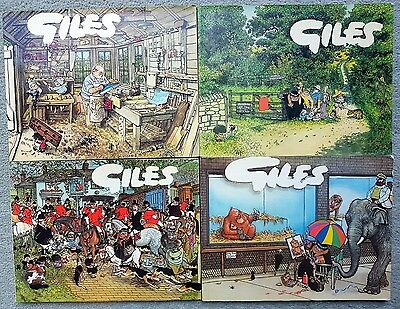 Four Vintage Giles Paperback Cartoon Books 31st 32nd 35th And 36th