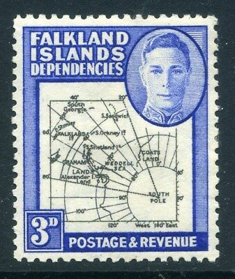 FALKLANDS ISLANDS;  1946 early GVI  ' Thick ' Map issue, Mint . 3d. -302244