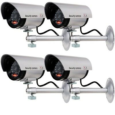 4 SecurityCamera-Dummy-Fake Indoor Outdoor Light CCTV Cam Sensor Front Led Silve