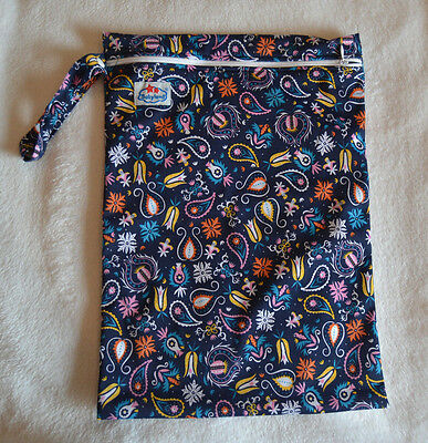 Large Babyland Wet Bag for Reusable Nappies, Wipes, Swimming Kit - Navy Vintage
