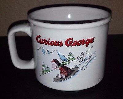 Curious George Mug Cup Sliding Sledding Winter Snow Monkey Soup Bowl Mifflin GUC