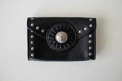 VINTAGE GIANNI VERSACE Leather Studs Medusa Wallet Card Pouch Black Italy Small