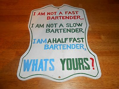 Vintage BARTENDER Wood Sign Advertising MADE IN JAPAN