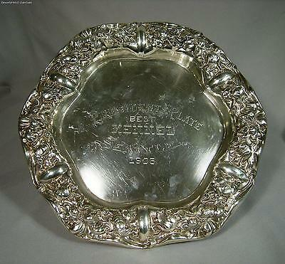 Art Nouveau Floral Unger Brothers Sterling Silver Presentation Plate Dated 1905