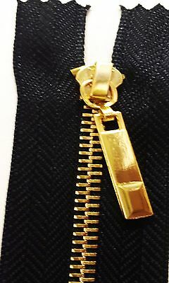 5 Pieces Brand New Heavy Duty Black Gold Teeth Zips 4 Inches [10 Cm] Long