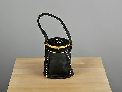 Vtg. 50s 60s Waldybag Black Evening Purse With Rhinestones & Coin Purse  #385