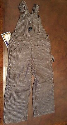 NWT LAKIN & McKEY Overalls kids size 6 brown striped NEW