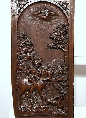 Carved Wood Panel Solid Antique French Chateau Hunting Scene Carving Chateau