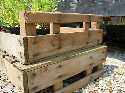 4 x Wooden vintage garden trays tray apple boxes chic old chitting farm crates