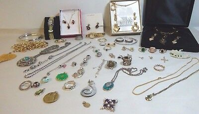 Estate Lot  jewelry Rings Chains Pendants Earrings, Costume 925 sterling silver