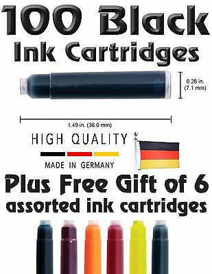 100 Fountain Pen Ink Cartridges. BLACK + GIFT !  Standard size Made in Germany