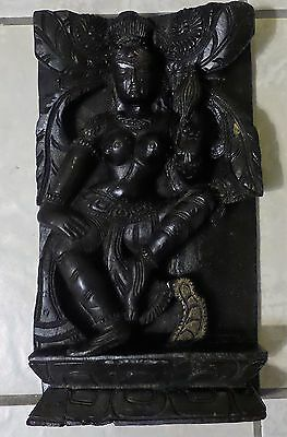 Vintage Hand Carved Hindu Wood Sculpture Panel Free Shipping