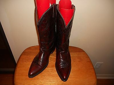 Men's Acme Black Cherry Leather Western Cowboy Boots Size 13D Made In Usa